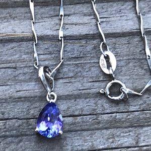 Vintage sterling tanzanite necklace